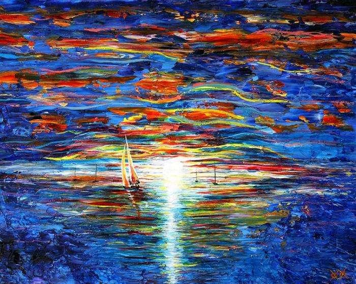 Слепой художник на ощупь создает красочные полотна